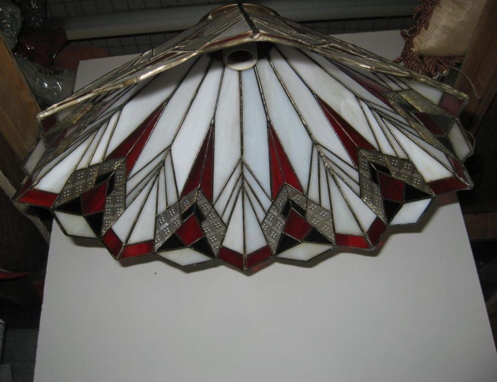 Art Deco Deco Inspired Stained Glass Ceiling Fixture For Sale