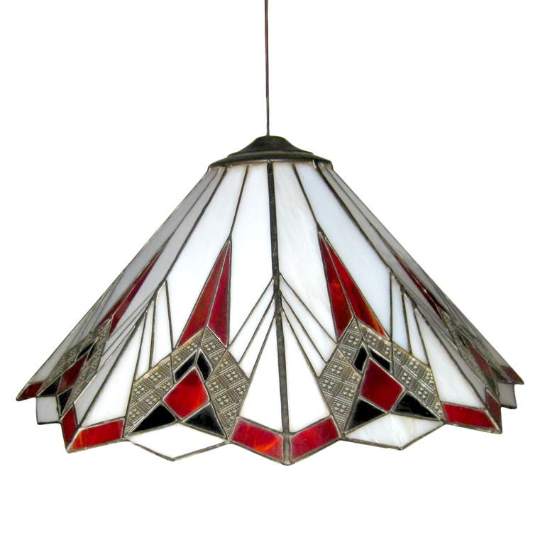 Deco Inspired Stained Glass Ceiling Fixture For Sale