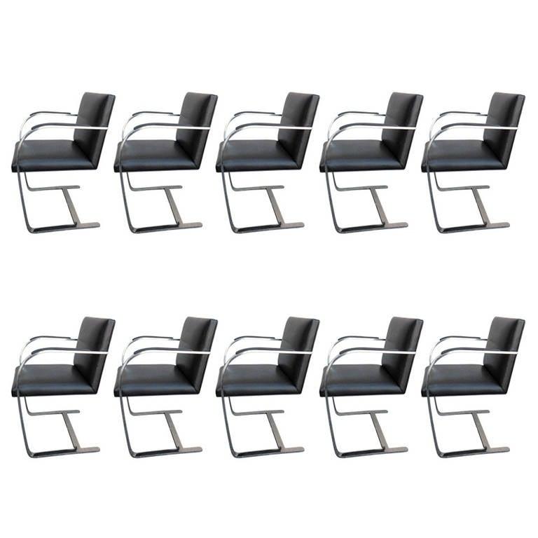 Set of Ten Brno Mid-Century Mies van der Rohe Arm Chairs