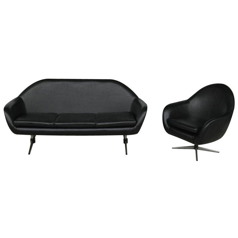 Mid Century Modern Space Age Lightweight Three Seat Sofa And Chair By Overman At 1stdibs