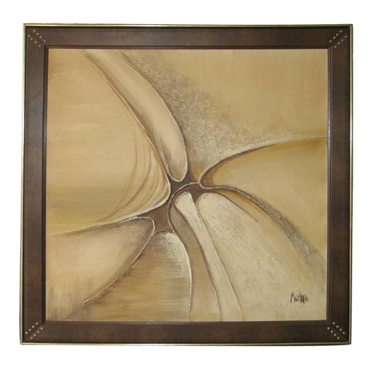 Large Studded Faux Leather Mid Century Modern Painting For