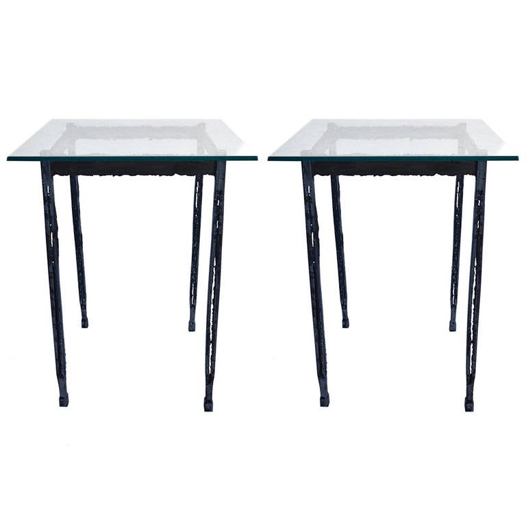 Pair of torch cut narrow tall end tables at 1stdibs for Tall slim side table