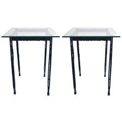 Pair of Torch Cut Narrow Tall End Tables