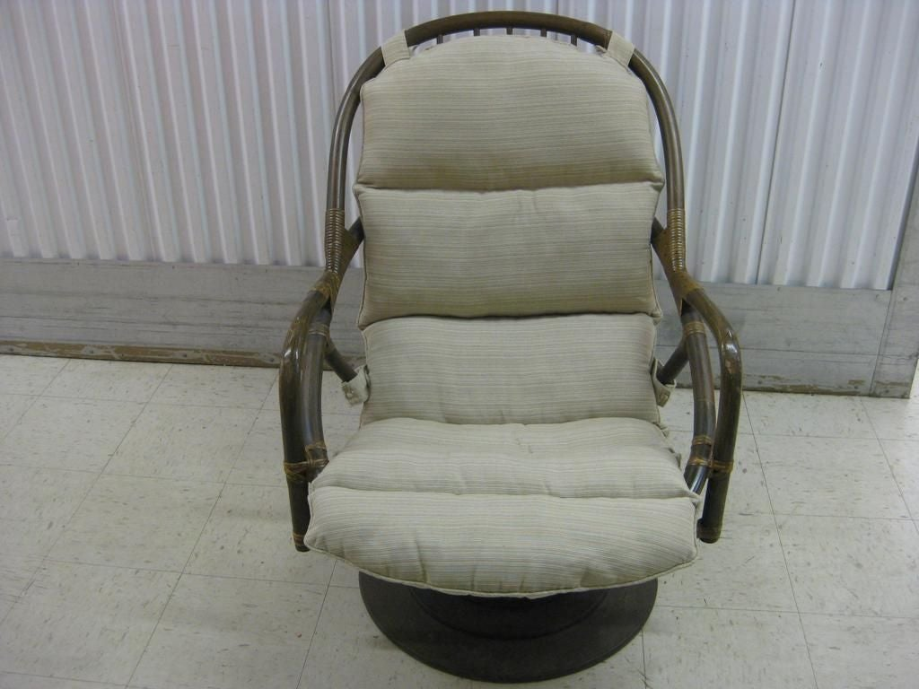 Pair of Rattan Bent Wood Swivel Rocking Lounge Chairs, excellent for ...