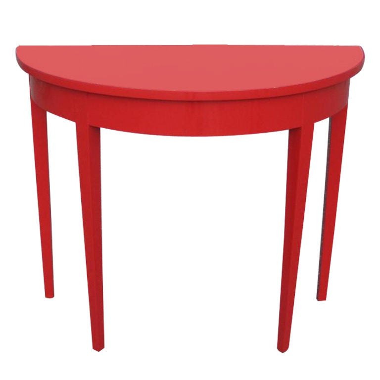 Spectacular High Gloss Red Lacquer Demi Lune Console Table 1