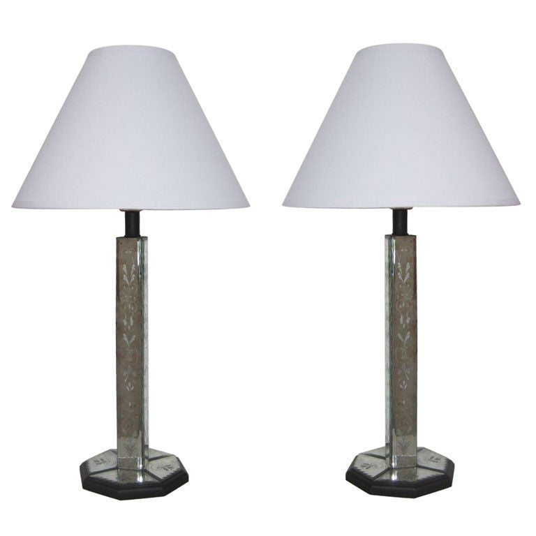 pair of antique etched mirrored table lamps for sale at. Black Bedroom Furniture Sets. Home Design Ideas