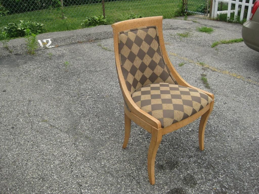 Set of six crackled klismos chairs after baker for sale at for Chair 6 mt baker