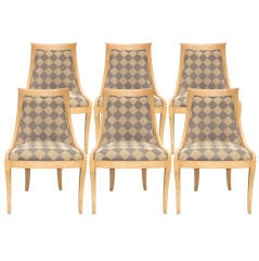 Set of Six Crackled Klismos Chairs after Baker