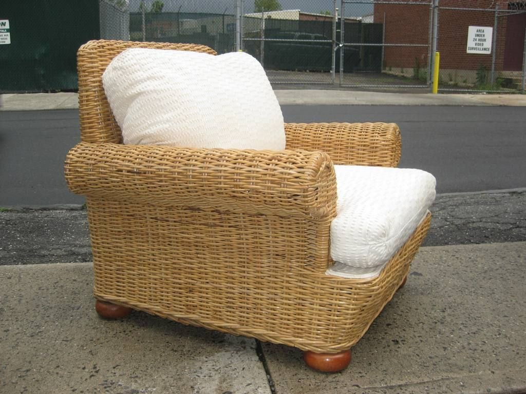 High Quality Vintage Wicker Rattan Lounge And Or Club Chair, Perfect For A Sun Room Or To
