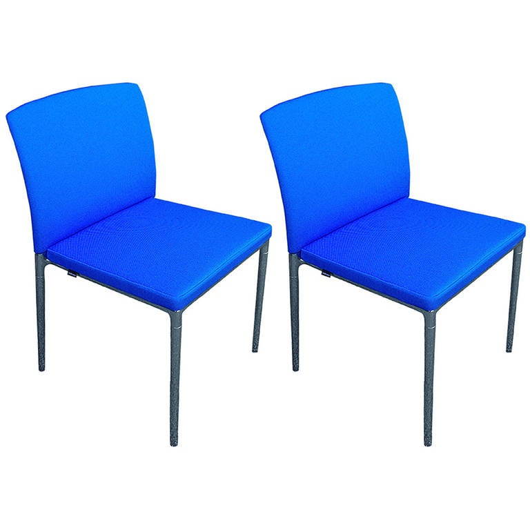 Stunning Beautiful Blue Pair of Side Chairs