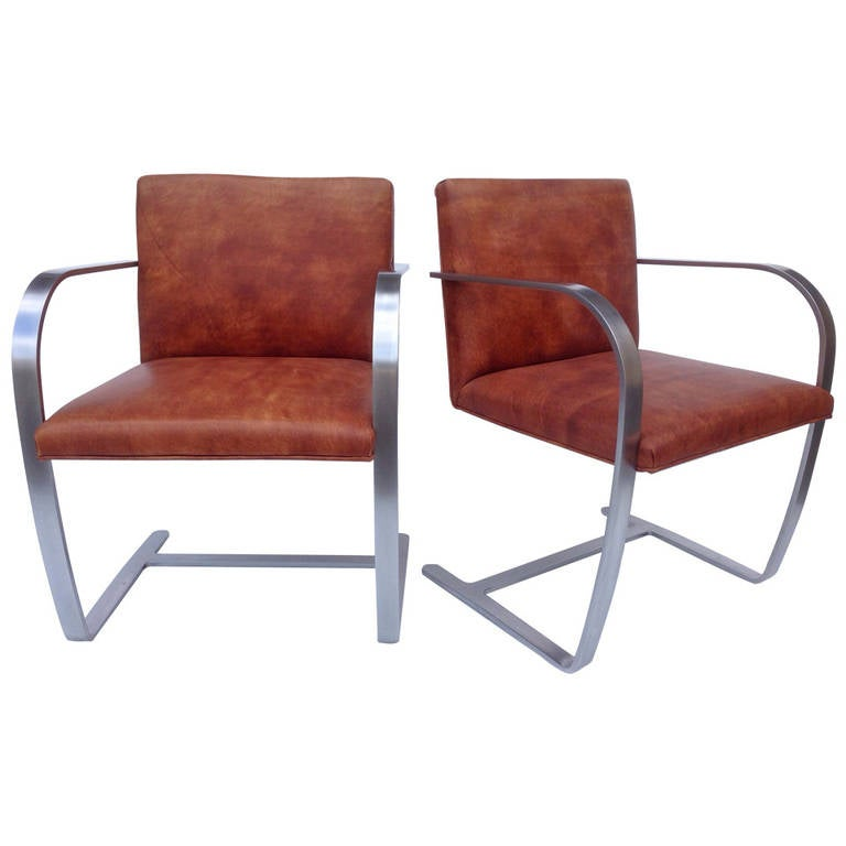 Pair of Leather Brno Armchairs