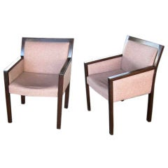 Pair of Curved Back Mahogany Armchairs after Ward Bennett