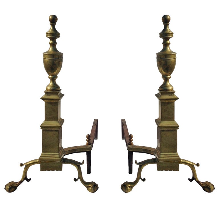 Pair of Large Andirons For Sale