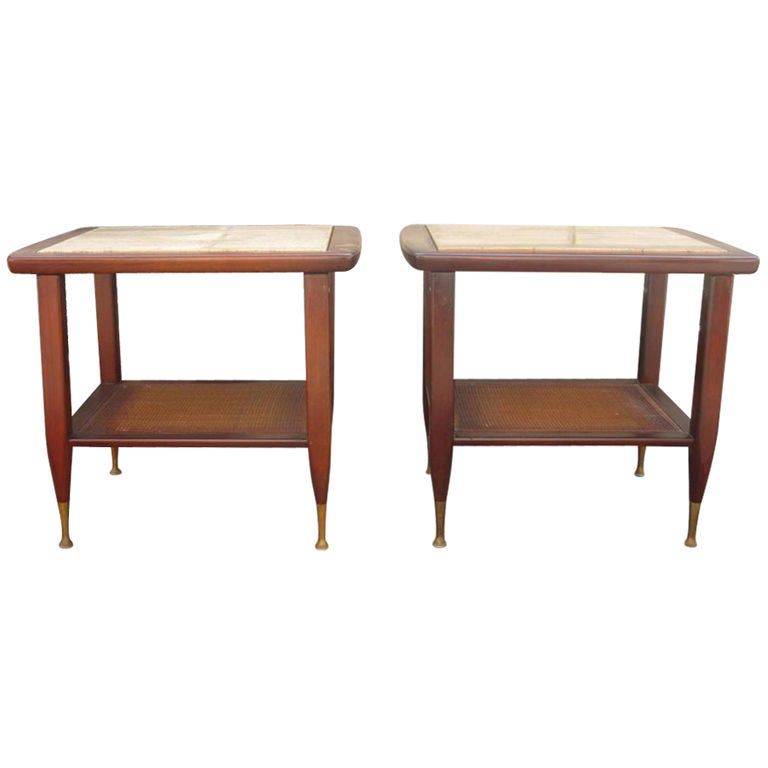 Pair of Marble Top End Tables with Caning