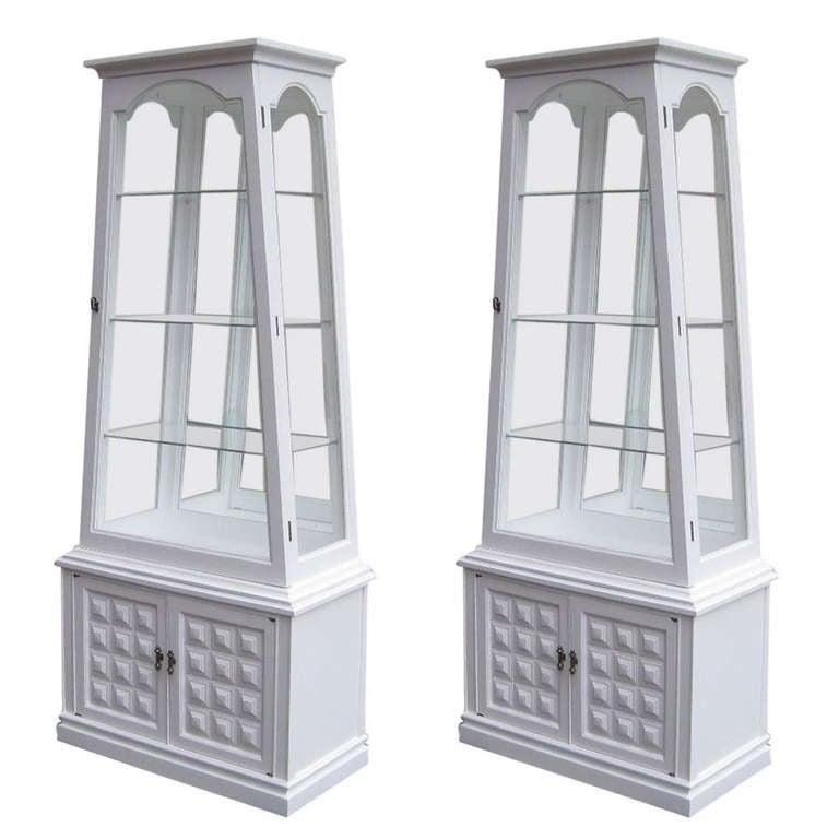 Pair of Obelisk Inspired Vitrines For Sale