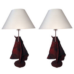 Pair of Metal Lamps After Paul Evans