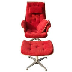 White Lounge Chair with Ottoman in the Manner of Eames