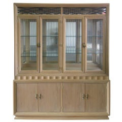 Illuminated Mid-Century Modern White Washed Two-Piece China Cabinet