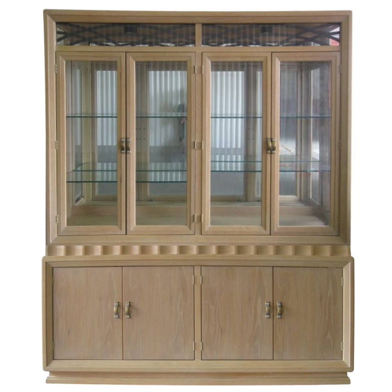 Illuminated Mid Century Modern White Washed Two Piece China Cabinet For Sale