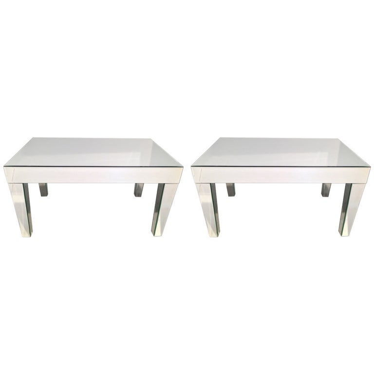 Pair of Mirrored End Tables For Sale