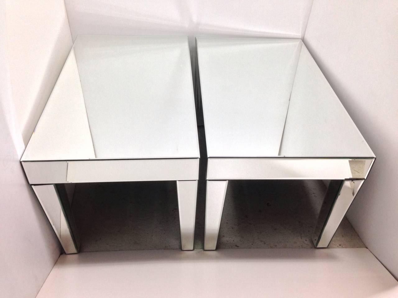 American Pair of Mirrored End Tables For Sale