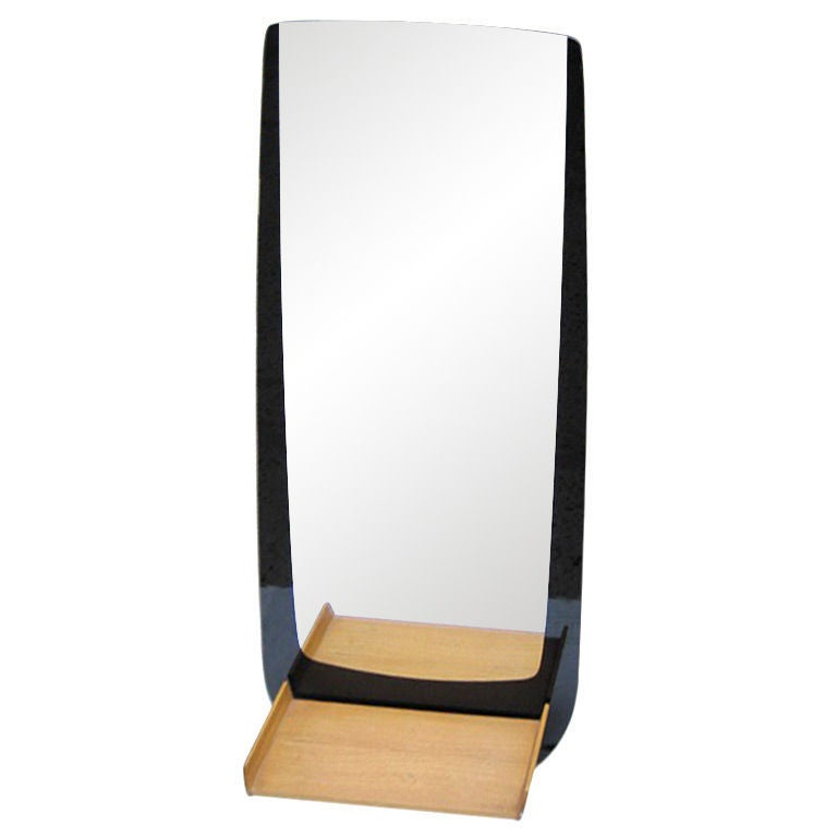 Art deco inspired entryway mirror w cantilever shelf at for Full length mirror with shelf