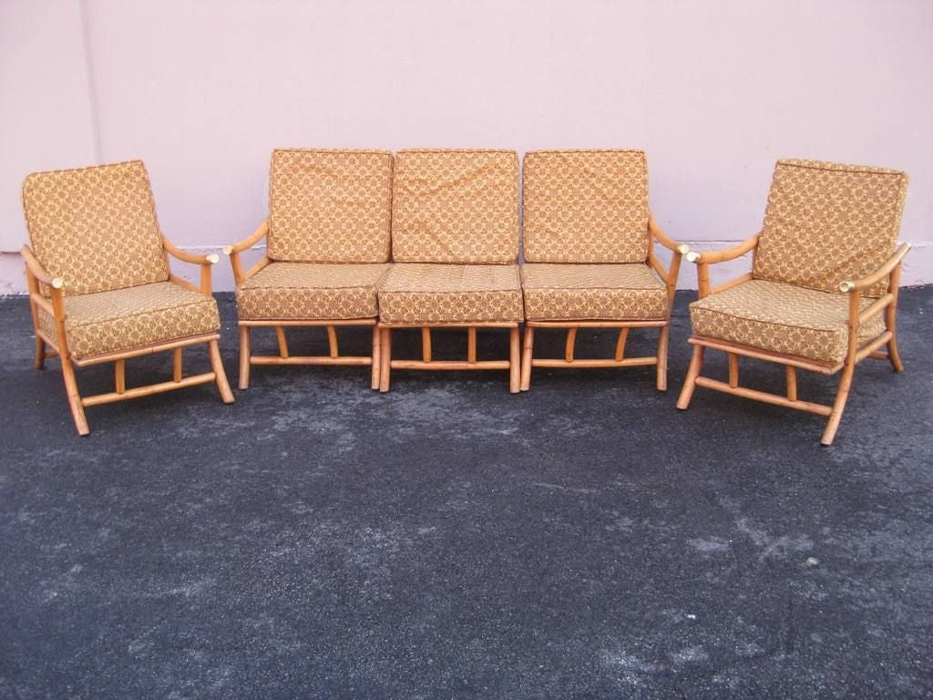 Set Of Rattan Klismos Sun Room Chairs For Sale At 1stdibs