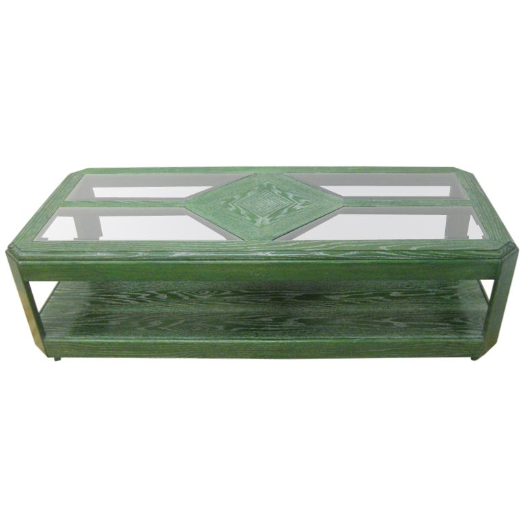 Green Cerused Two-Tier Oak Cocktail Table
