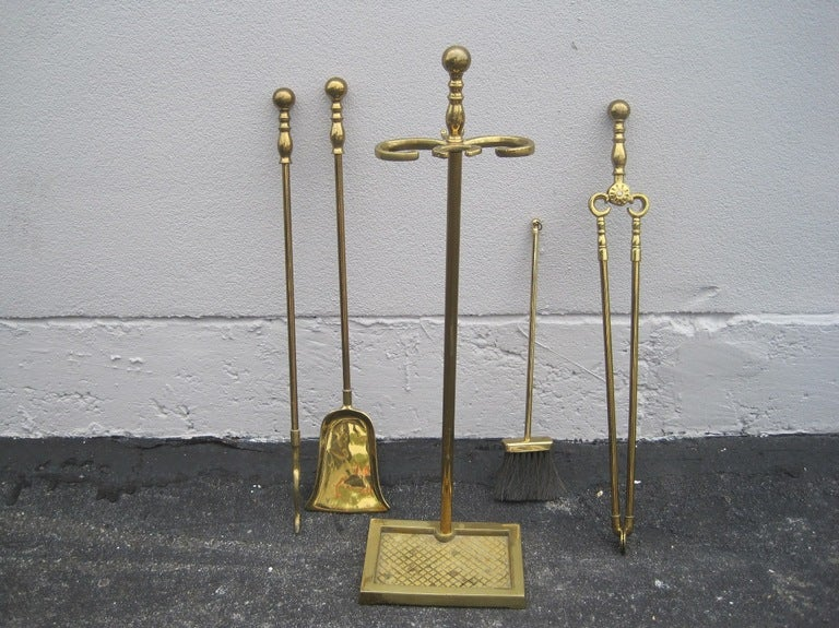 Solid Brass 5 Piece Fire Tool Set At 1stdibs