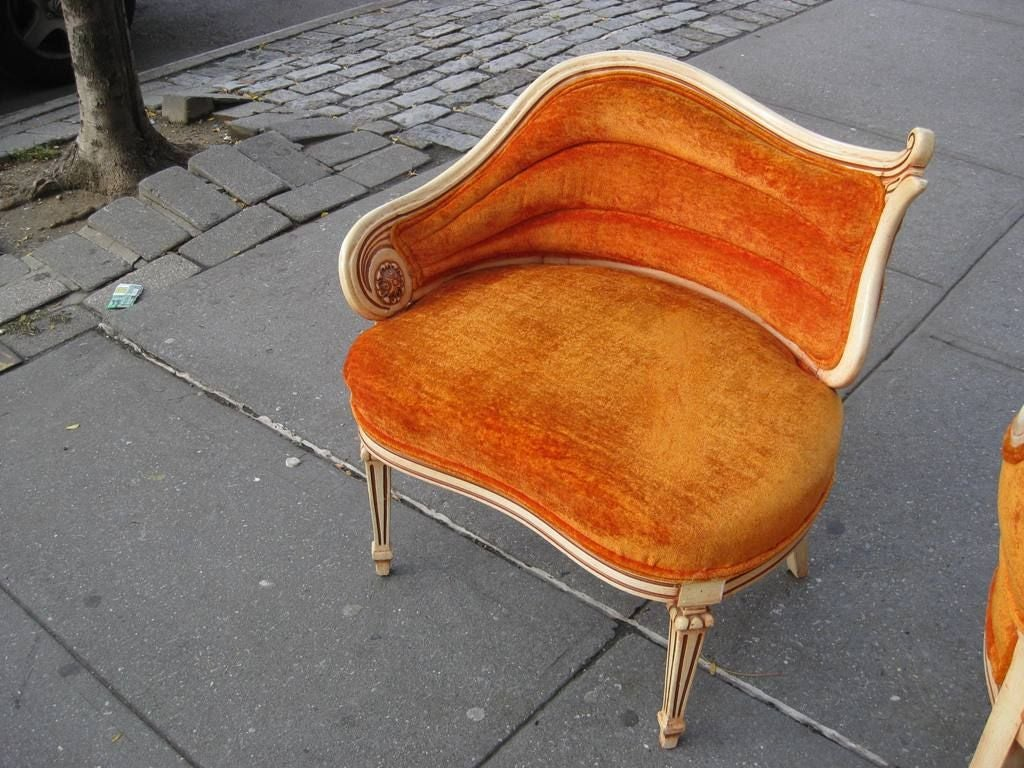 Pair Of Asymmetrical Lounge Chairs At 1stdibs