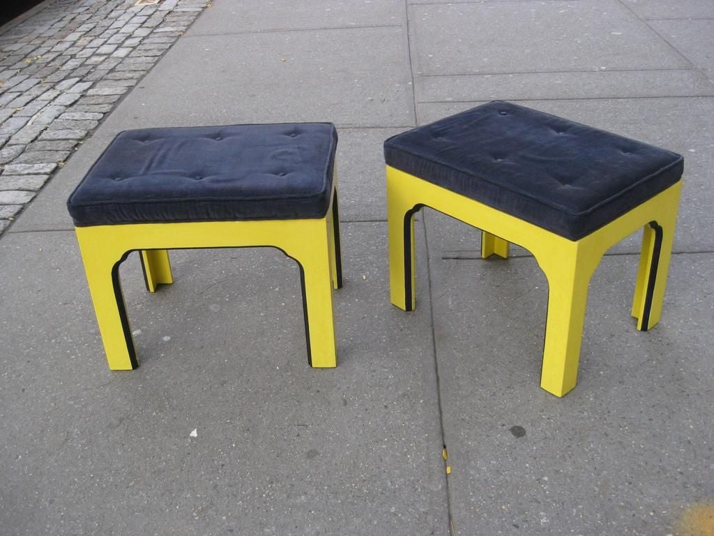 Pair of Mid-Century Modern benches and or ottomans.  This item is on sale for a clearance price.