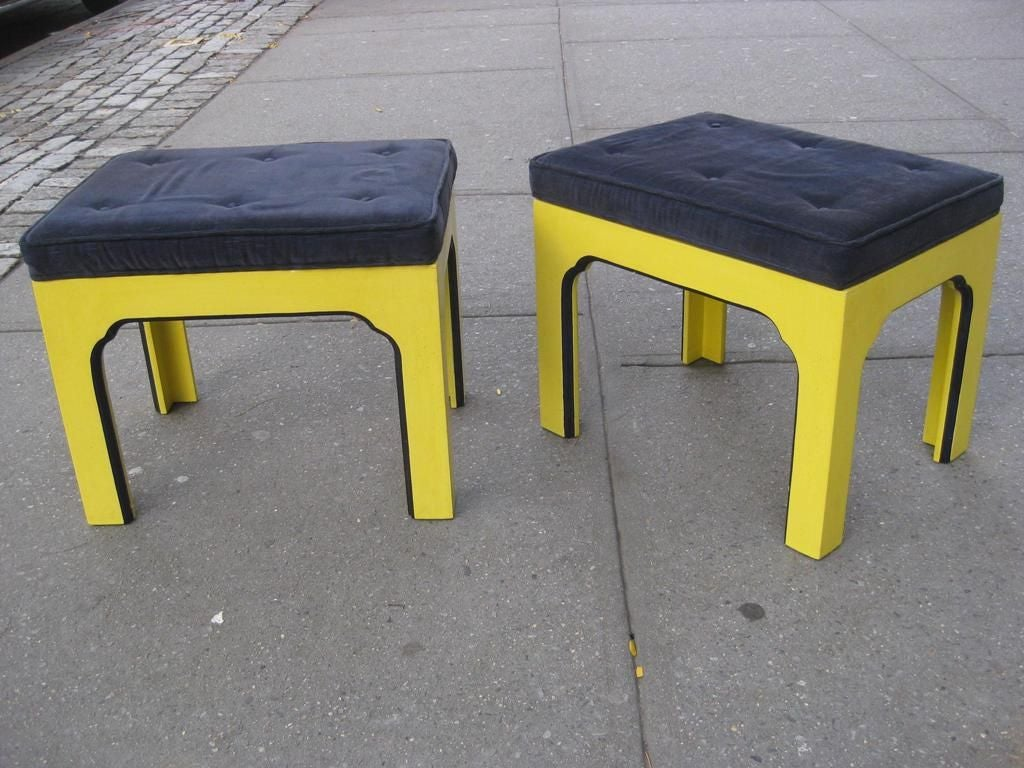Mid-Century Modern Pair of Ottomans For Sale