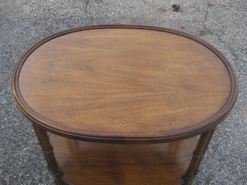 American Green Faux Bamboo Oval Side Table after T.H. Robsjohn-Gibbings For Sale