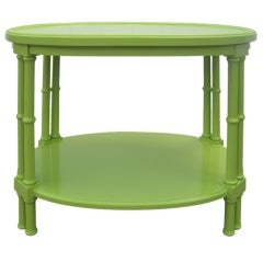 Green Faux Bamboo Oval Side Table after T.H. Robsjohn-Gibbings