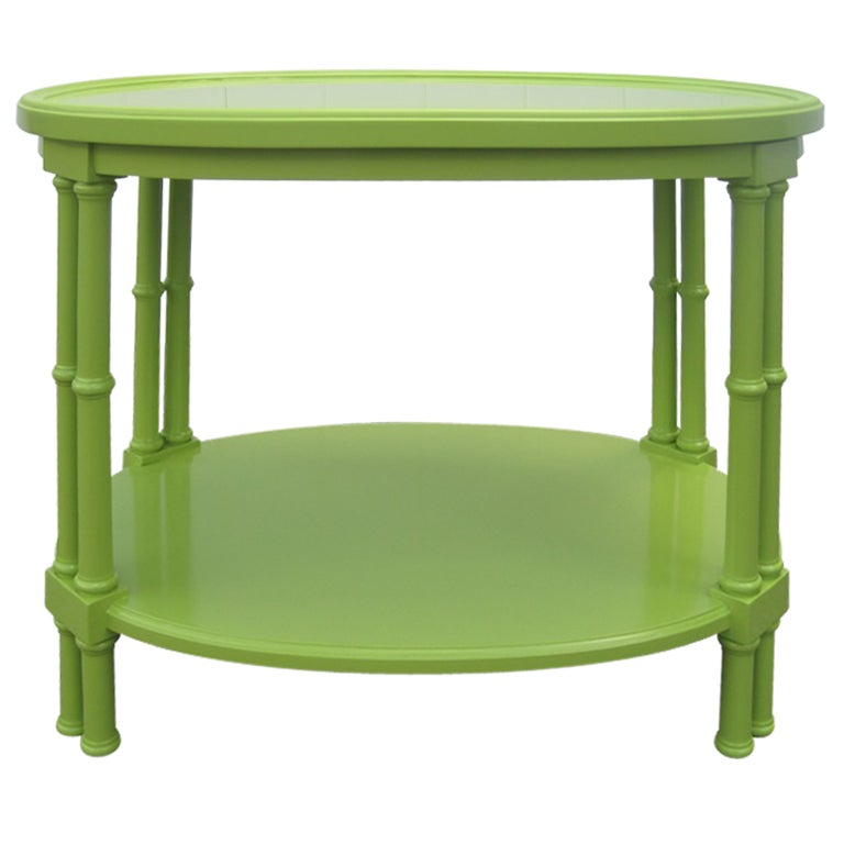 Green Faux Bamboo Oval Side Table after T.H. Robsjohn-Gibbings For Sale