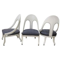 Stylish Set of Three Spoon Back Slipper Chairs