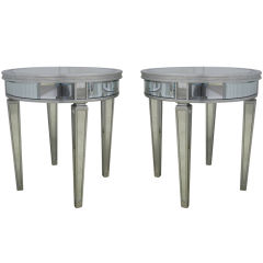Pair of Round Mirrored Hollywood End Tables