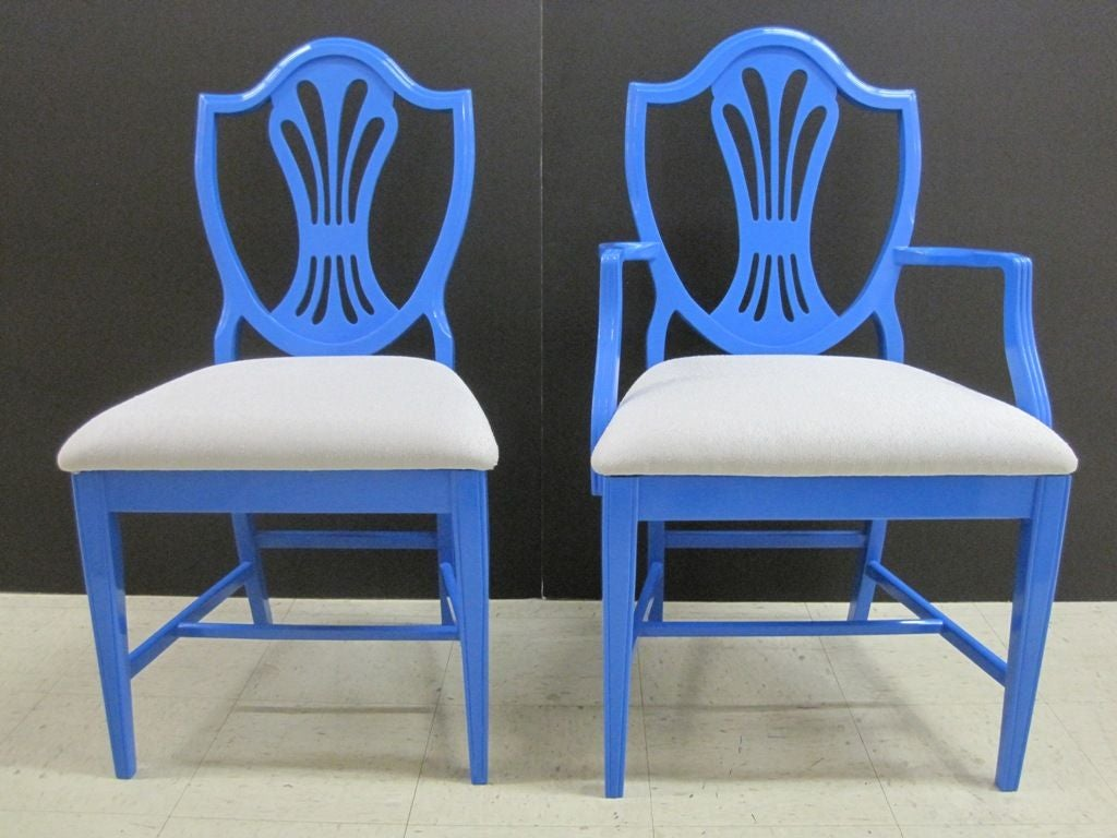 Set of Six Blue Dining Chairs For Sale at 1stdibs