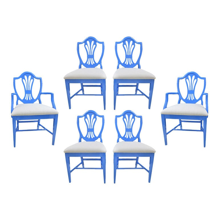 Set of Six Blue Dining Chairs