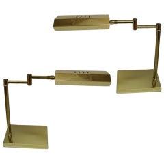 Pair of Swivel Head Swing Arm Desk Lamps