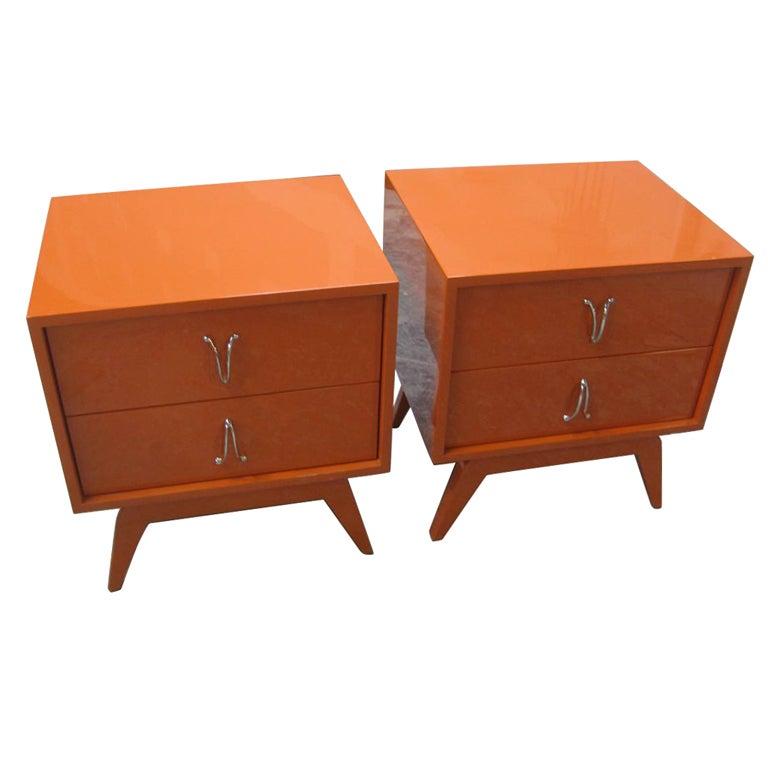 Pair Of Cubist Orange Bedside End Tables At 1stdibs
