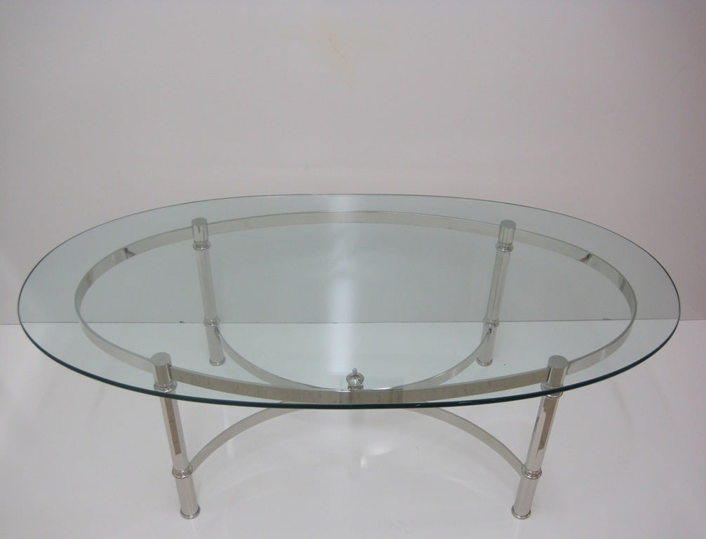 Mid-Century Modern Nickel Cocktail Table Attributed to La Barge For Sale
