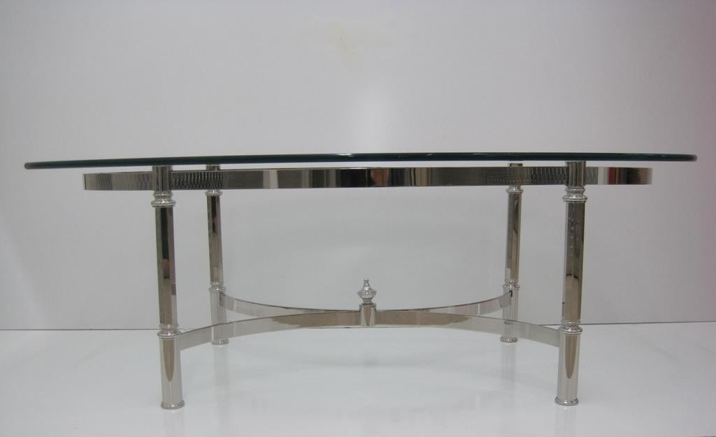 Italian Nickel Cocktail Table Attributed to La Barge For Sale