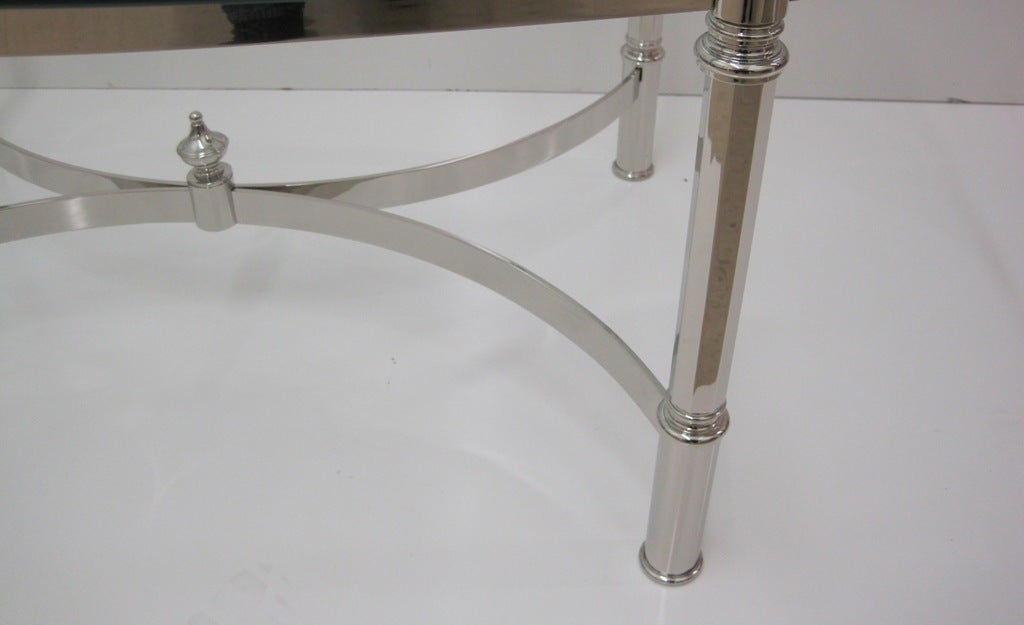 Mid-20th Century Nickel Cocktail Table Attributed to La Barge For Sale