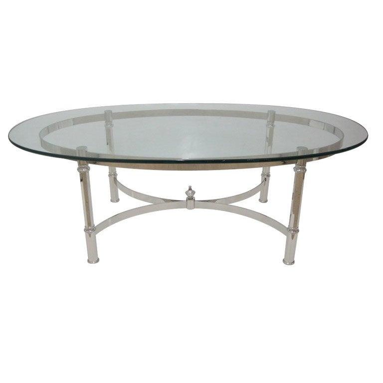 Nickel Cocktail Table Attributed to La Barge For Sale
