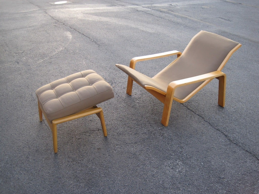 Mid Century Modern Adjustable Lounge Chair With Ottoman For Sale