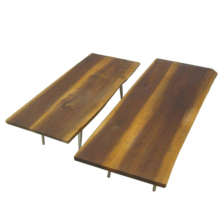 Single or Pair of Wood Plank Cocktail Tables with Nickel Legs