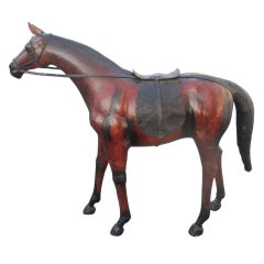 Abercrombie and Fitch Large Single or Pair of Leather Horse Sculptures
