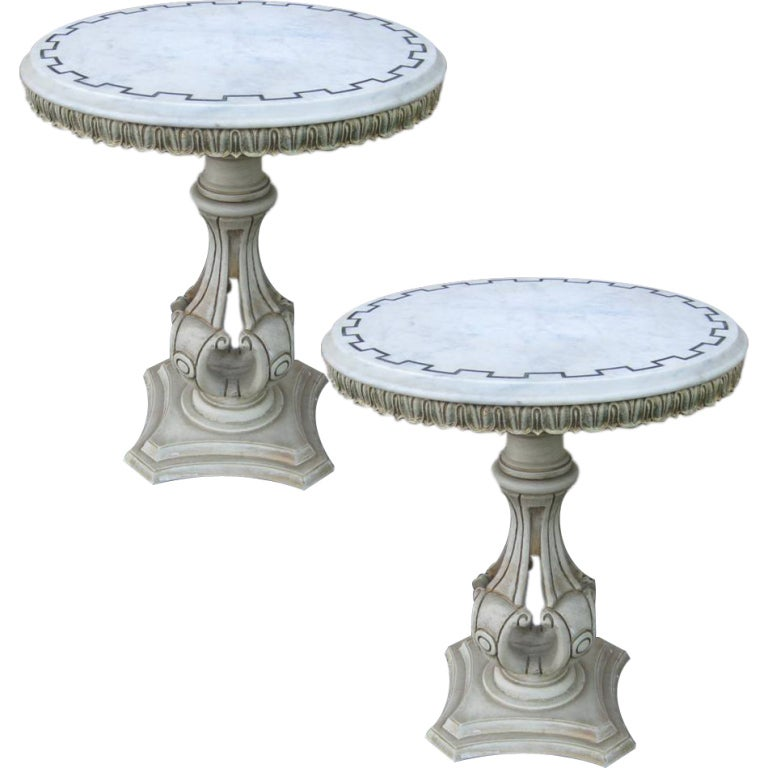 Pair Of Small Round End Tables For Sale At 1stdibs