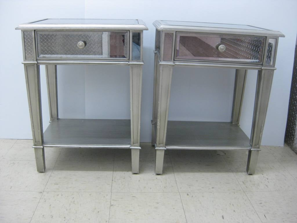 pair of tall mirrored end tables at stdibs - pair of tall mirrored end tables